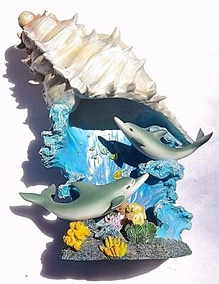 """Nightlight dolphins sea shell waves sculpture 10"""" tall 8"""" wide free shipping"""