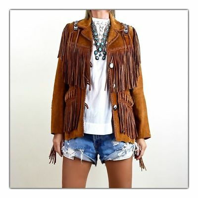 Women Western Coat Suede Leather Wear Cow-Lady Fringe Bones Beads Ladies Jacket