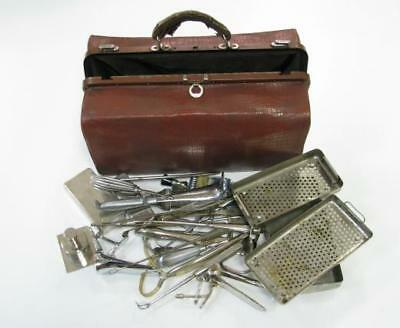 Antique Gynaecological Doctor Bag Over 20 Inst Tools Speculum Gynecology & Etc