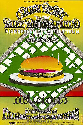 MINT Chuck Berry Mike Bloomfield 1969 BG 158 Fillmore Poster