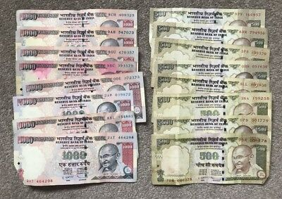 Reserve Bank of INDIA x 16 Banknotes - 8 x 1,000 Rupees and 8 x 500 Rupees