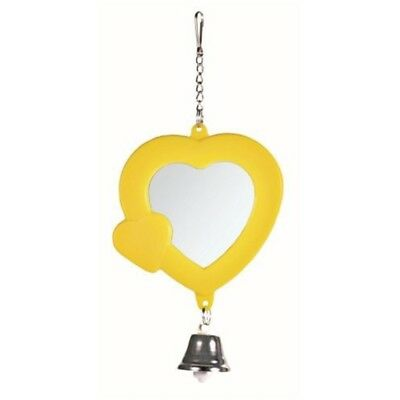 Trixie Heart Shaped Mirror With Bell, 7cm Size - Bird Bell Budgie Canary Cage