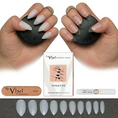 50-600 FULL STILETTO NAILS ✔ Short/Medium ✔ Press Stick On False Tips ✔ Vixi UK
