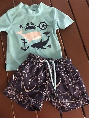Carters Baby Boy Swim 2 Piece Outfit Rash Guard & Trunks Shorts 3-6 Months
