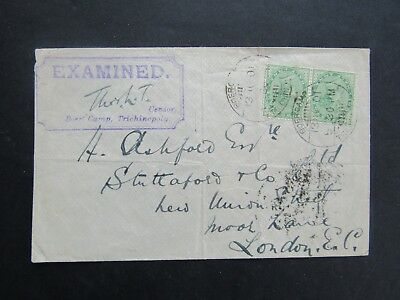1901 Boer War Cover - From Trichinopoly Camp - Double India Franking + Cachet