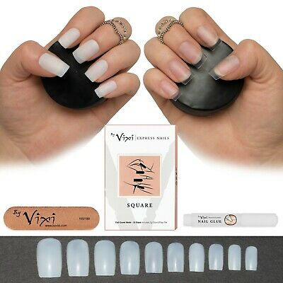 50-600 SQUARE NAILS ✔ Short/Medium & Long ✔ Opaque/Clear Full Cover ✔ False Fake