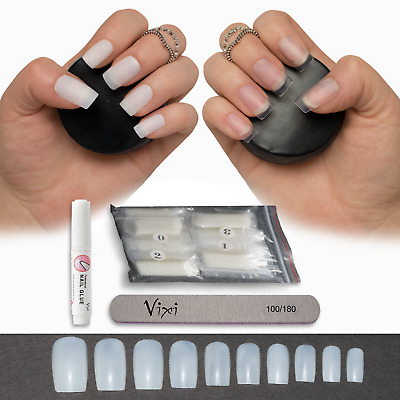 50-600 FULL SQUARE NAILS ✔ Short/Medium & Long ✔ Press Stick On False Tips ✔Vixi