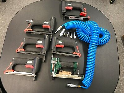 5 pneumatic staple guns 71 series including OMER gun, airlines & fittings