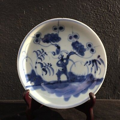 Antique Chinese Blue And White Plate
