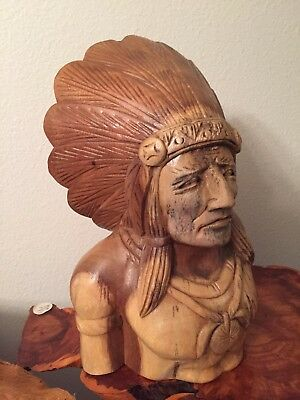 Native American Warrior Carved Bust