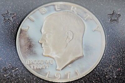 Brown Box 1971 S Silver Eisenhower Ike Dollar Proof - 40% SILVER