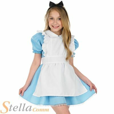 Girls Traditional Alice Wonderland Book Week Fancy Dress Costume Child Outfit