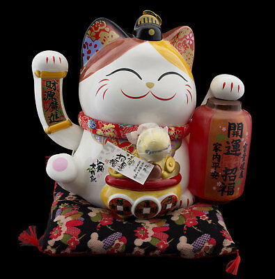 Grand Chat japonais Maneki neko 31 cm en porcelaine patte animee Lampion 40615