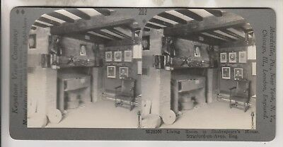 Vintage Stereoview - Living Room Shakespeare House - Stratford-On-Avon England