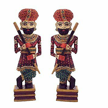 Indian Rajasthan Guards Wooden statue