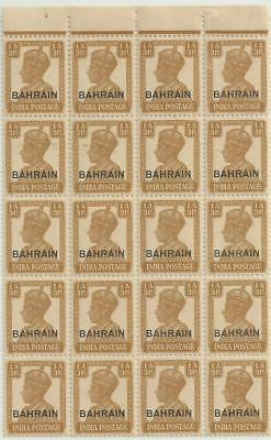 BAHRAIN 1942-45 KGVI 1a&3ps OVERPRINT BLOCK OF 20 MNH HIGH C.V £200/-