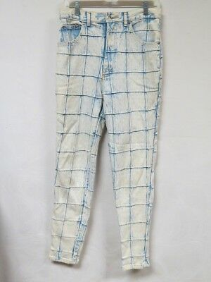 Vintage 80s Jeans Acid Wash Denim Patchwork Check Tapered Anti Basic Daily 30x29
