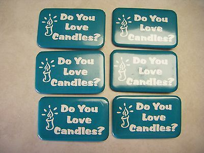 """Candles - """"Do You Love Candles"""" pins, Aqua Green PartyLite color - New set of 6"""