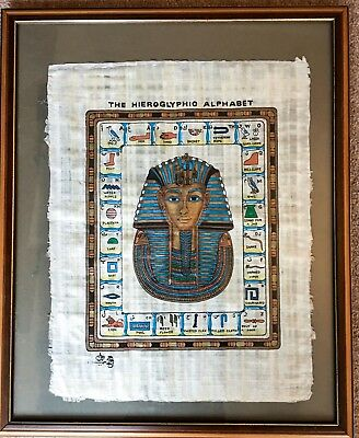 Framed Hand Painted Egyptian Hieroglyphic Alphabet on Papyrus Signed Certificate