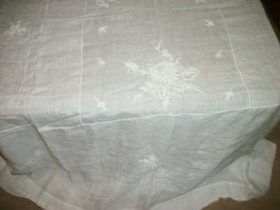French Chic Antique White On White Irish Linen Tablecloth Bed Coverlet Shabby