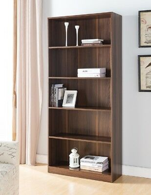 161573 Modern 5 Tier 5 Shelves Custom Adjustable Bookcase (Dark Walnut)