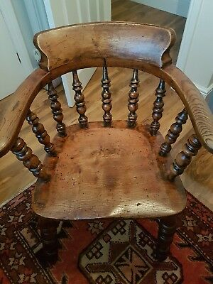 Antique Elm Wooden Armchair