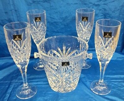 Royal Doulton Fine Lead Crystal Ice Bucket with Four Champagne Flutes
