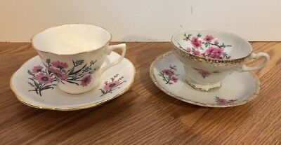 Lot of Two Vintage English Tea Cup and Saucer Sets REGENCY Bone China England