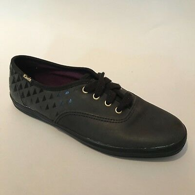 eb662617be57e Ked s Champion Embossed Black Leather Women s Shoes Brand New Fast Shipping