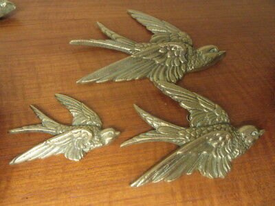 """Set Of Three 3 Brass Wall Hanging Swallows Birds - Largest 5 1/2"""" (Set 1)"""