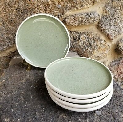 60s Mid Century Russell Wright Harkerware White Clover Green 5 Plates 6""