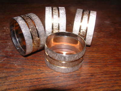 "COLLECTABLE SET of 4 BARK STYLE TEXTURED TWO TONE NAPKIN RINGS 1.75"" diam"