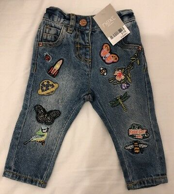 BNWT £16 Next Baby Girl 3-6 Months Denim Embroidered Jeans Trousers