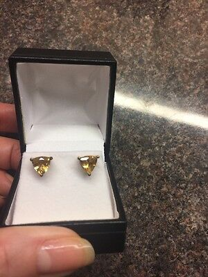 Genuine Citrine Studs Trilliant Cut 1.75 Ct 925 Silver 14kt Gold Bonded