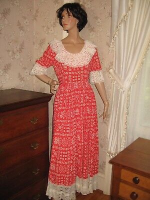 Lovely Vintage Lady's Colonial Red White Cotton Maxi Dress Costume-Crochet Lace