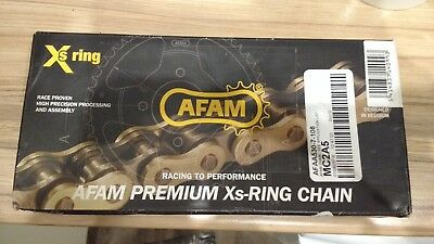 Motorcycle Chain AFAM 530 Pitch 108 Links (7 XSR Super Heavy Duty) Gold X Ring
