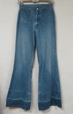Vintage 70s Jeans Wide Leg Bell Bottom High Waist Patchwork Covered 26x33