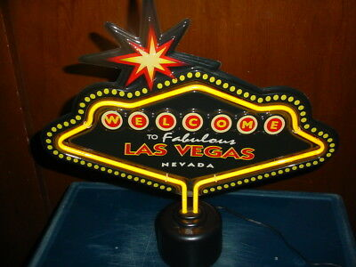 """Vintage Welcome To Fabulous Las Vegas Nevada Sign With Neon Yellow 15"""" X 15"""""""