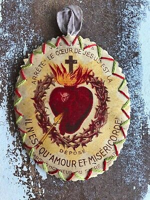 Antique French Ex Voto Flaming Heart
