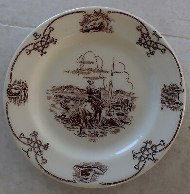 """Shenango Resturant Ware WESTERN COWBOY 7 1/4"""" PLATE Brands Rope Boots Hat Horse"""