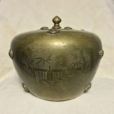 18th 19th Century Antique Asian Brass CHINESE TEA CADDY GINGER TREASURE JAR Pot