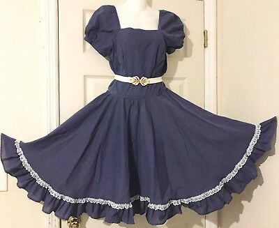 Square Dance Dress Navy Blue And White Dotted Swiss & Man's Navy Blue Tie S/m