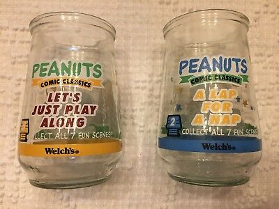 Lot of 2 Vintage Welch's Jelly Jar Glasses Assorted Peanuts Collectible