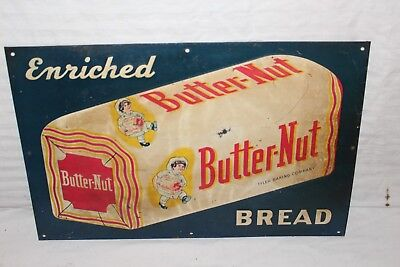 "Vintage 1940's Butter-Nut Bread Grocey Store Gas Oil 18"" Embossed Metal Sign"