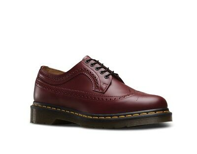 DR. MARTENS 3989 Yellow Stitch In Cherry Red Smooth: Size 6 UK