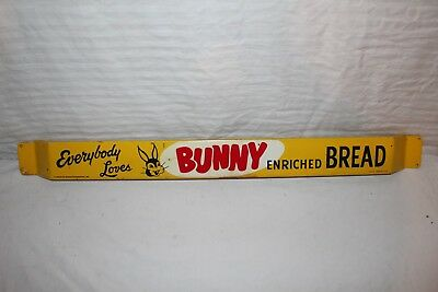"Rare Vintage 1950's Bunny Bread Grocery Store Gas Oil 33"" Metal Door Push Sign"