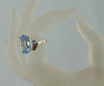 Vintage 18K Gold Plated Oval Cut Baby Blue Rhinestone Ring Size 7 Solitaire