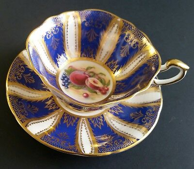 Gorgeous Vintage Paragon Gold Leaf and Fruit Cup and Saucer - Mint