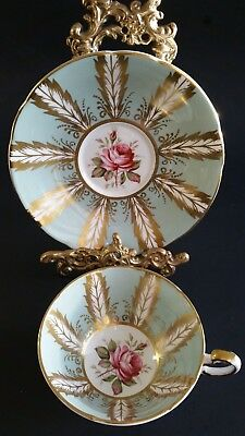 Gorgeous Vintage Paragon Gold Leaf and Rose Cup and Saucer - Mint