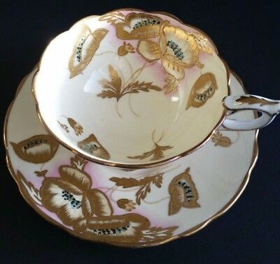 Stunning Vintage Royal Stafford HEAVY GOLD Poppy Cup and Saucer - Mint Condition